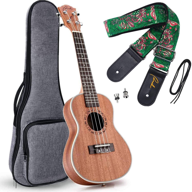 Ranch Left handed Concert Ukulele 23 inch Professional Wooden ukelele Instrument with Padded Gig Bag and Ukele Hawaiian Ethnic Soft Cotton & Genuine Leather Strap