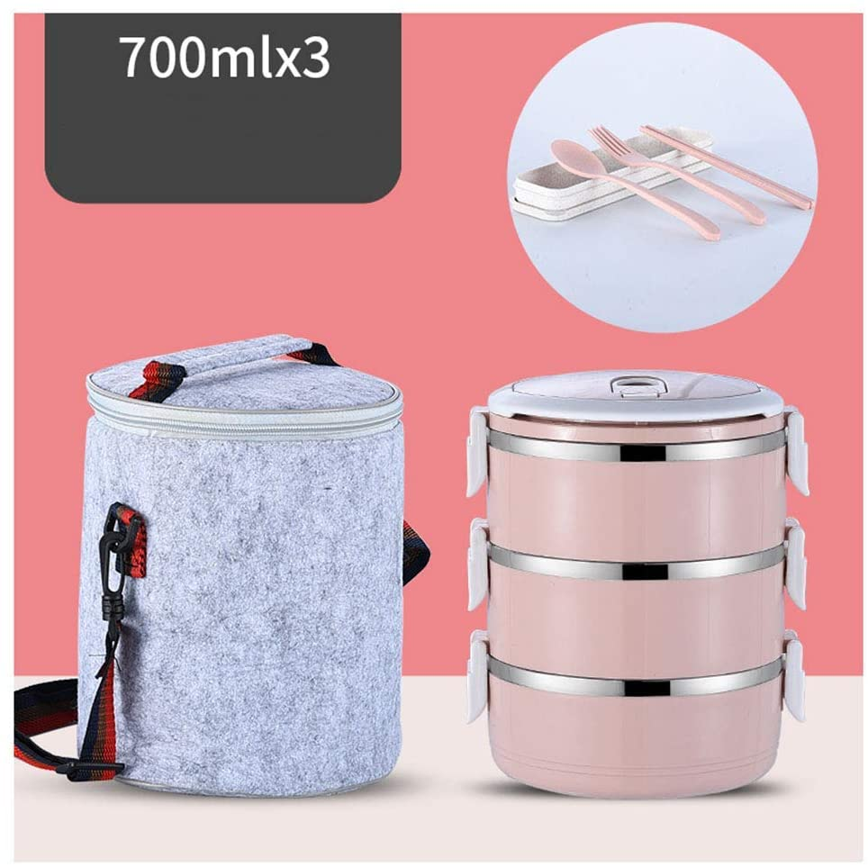 4/3 Layers, Mini Portable Bento Box Multifunction Picnic, Thermal Lunch Box, for Outdoor Office,Pink,3Layers