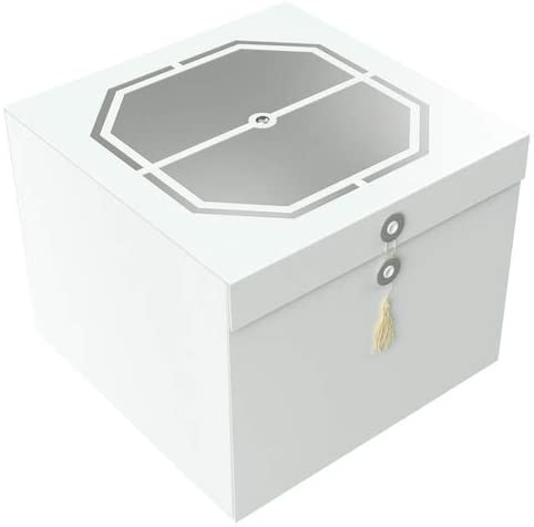 Gift Box Exa Wedding White/Silver 10x10x8