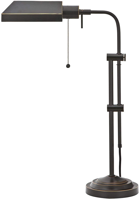 Benjara Metal Rectangular Desk Lamp with Adjustable Pole, Black