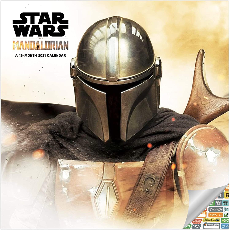 Star Wars Mandalorian Calendar 2021 Set - Deluxe 2021 Star Wars Mandalorian Wall Calendar with Over 100 Calendar Stickers (Star Wars Mandalorian Gifts, Office Supplies)