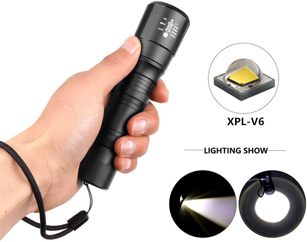 redcolourful XPL-V6 LED Flashlight Torch Zoomable Linterna LED Flashlight for Cleaning Supplies