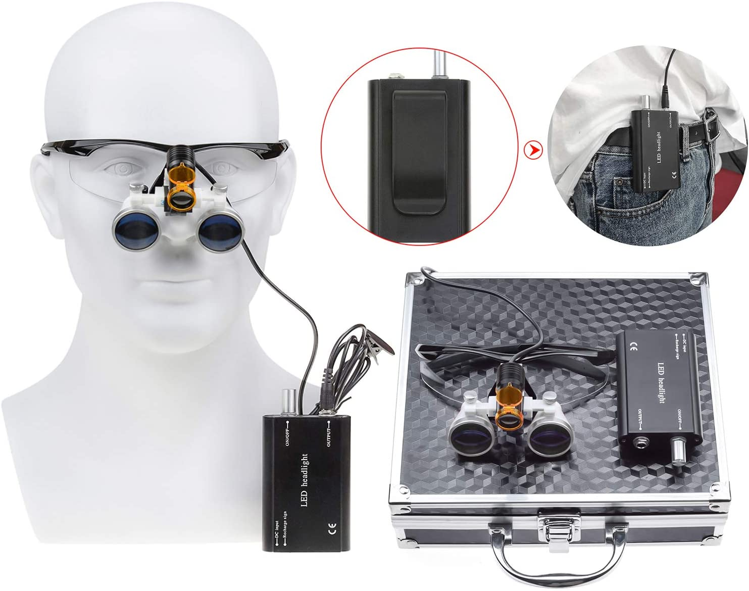 Zgood 2.5X420mm Working Distance Optical Glass Surgical Binocular Loupes + 5W LED Waist-hang Head Lamp with Filter + Aluminum Box DY-008 (Black)