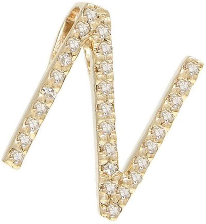 Italian Jewelry Initials 14 KT Yellow Gold & Diamond Initial Necklace