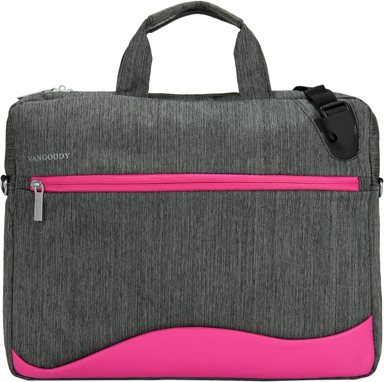 VanGoddy Wave Briefcase/Messenger Bag for Dell 14 to 15.6-inch Laptops (Magenta)