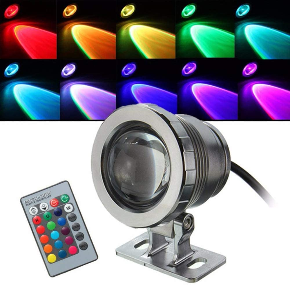 Baoer Waterproof 10W RGB Led Light Garden Fountain Swimming Pool Pond Spotlight Bright Underwater Light Lamp with Remote Control Silver (ZM1147802)
