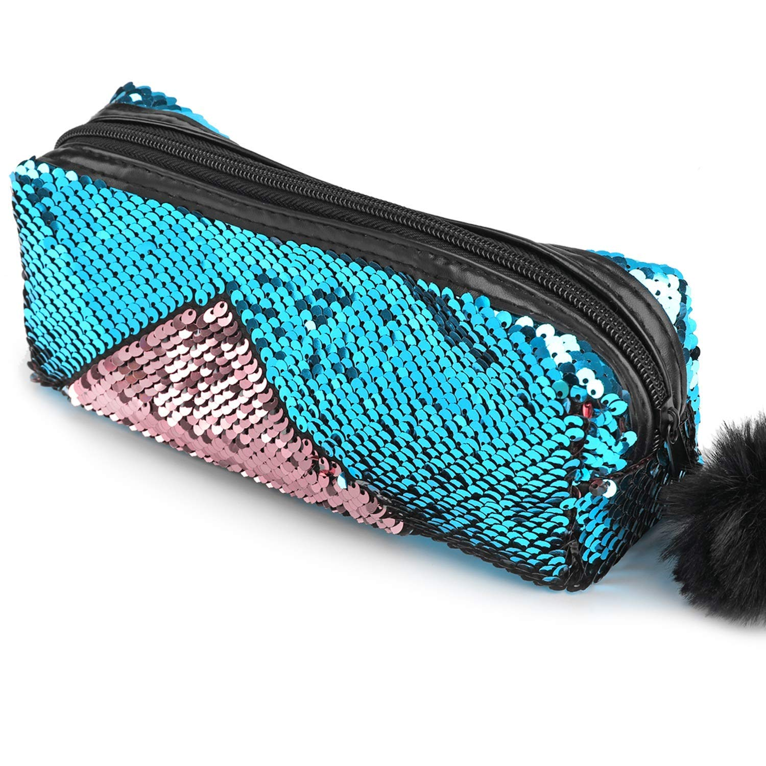 Glitter Cosmetic Bag Mermaid Spiral Reversible Sequins Portable Double Color Students Pencil Case for Girls Women Handbag Purse Make Up Pouch with Pompon Zip Closure(Blue+Pink)