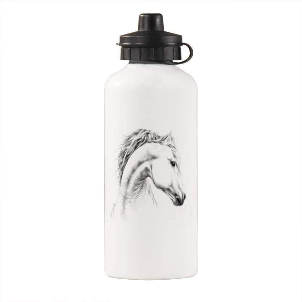 Yilooom Elegant Pastel Pink Leopard Print Pattern Aluminum White Finish 20 Ounce Sport Water Bottle, White