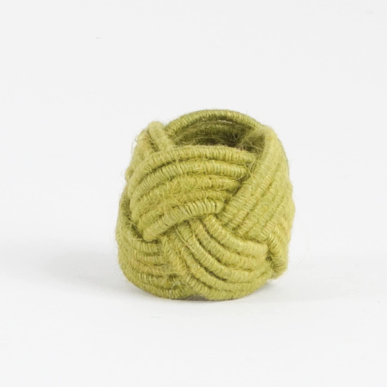 Fennco Styles Classic Braided Jute Burlap Napkin Rings - Set of 4 (Chartreuse)