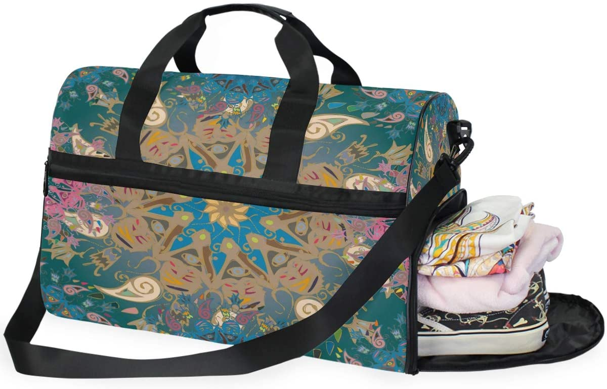 Large Duffle Bag Abstract Doodle Mandala Paisley Gym Bag Sport Duffel Bag for Men Women Traveling