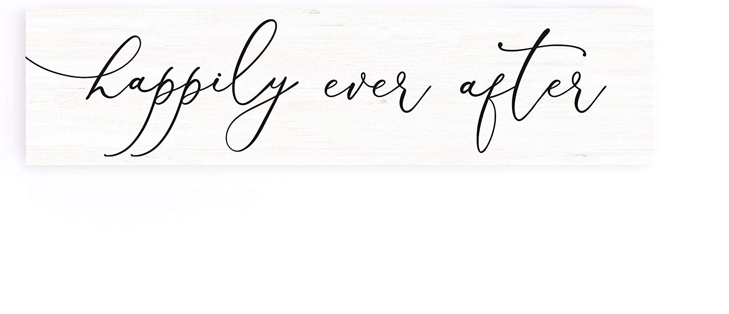 P. Graham Dunn Happily Ever After White 6 x 1.5 Pine Wood Little Toothpick Sign