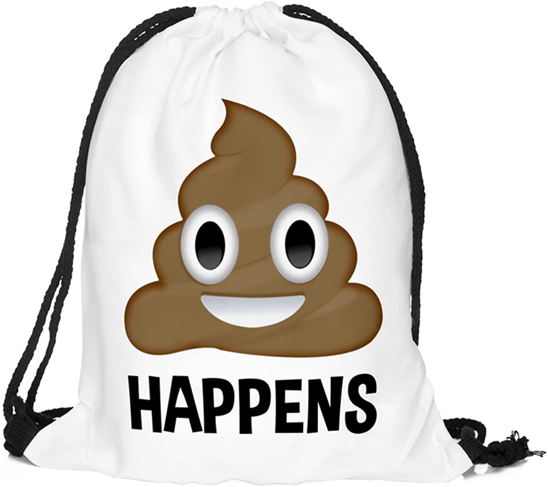HELLATHUND 3D Emoji Poop Drawstring Backpacks for Kids(12