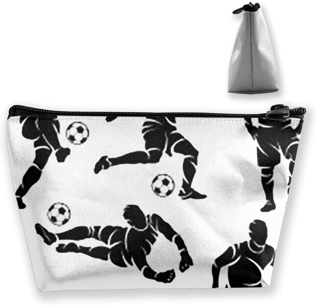 Trapezoidal Storage Bag Play Football Double Print Handbag Coin Purse Cosmetic Pouch Wallet Pencil Holder