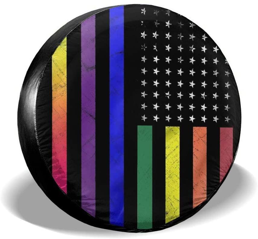 Bomini Spare Tire Cover Rainbow American Flag Wheel Waterproof SUV Camper Travel Rv Cars Accessories Diameter 23.6