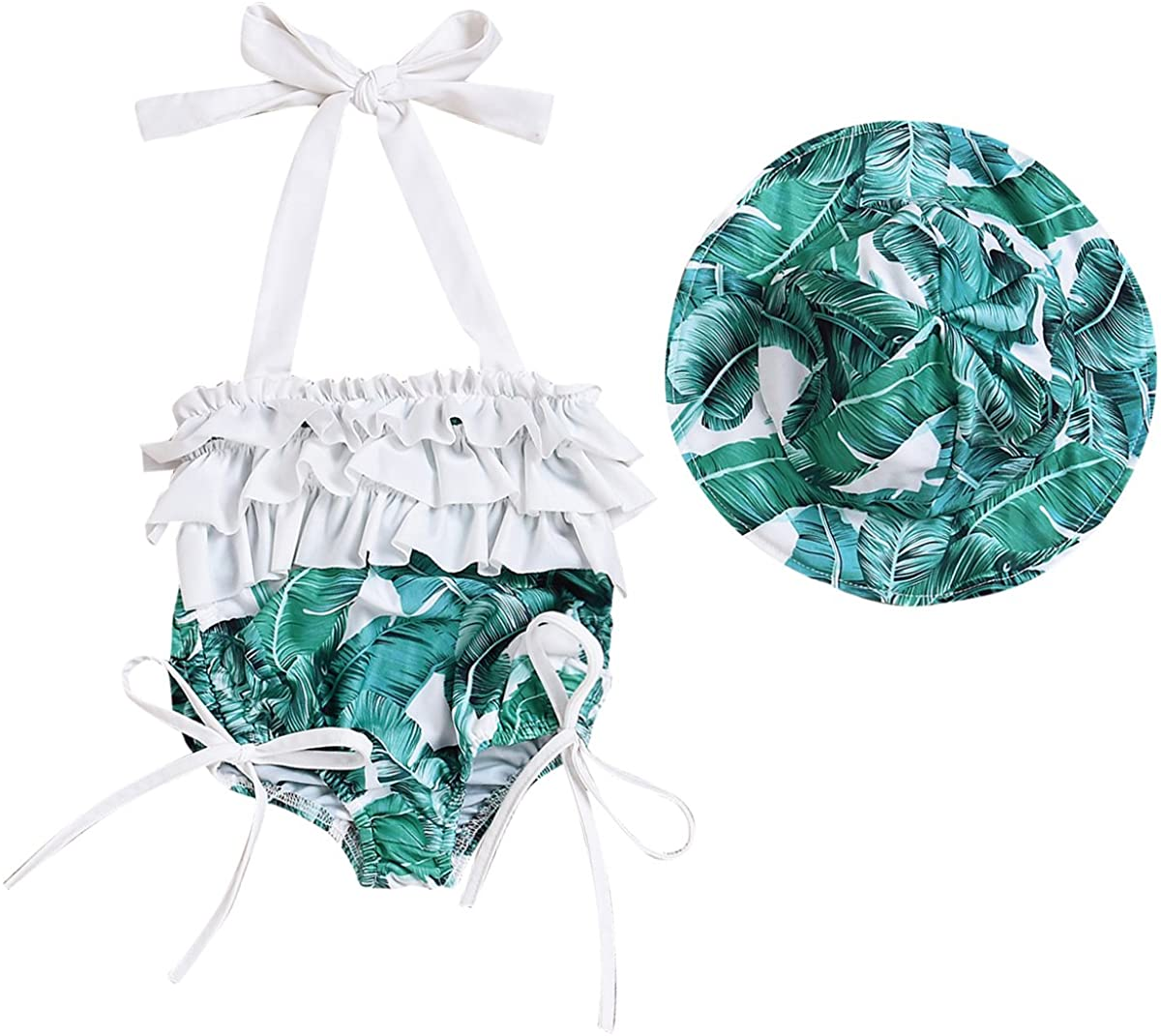 Baby Kids Girl Tropical Leaves Swimsuit Ruffle Swimwear Bathing Suits with Hat