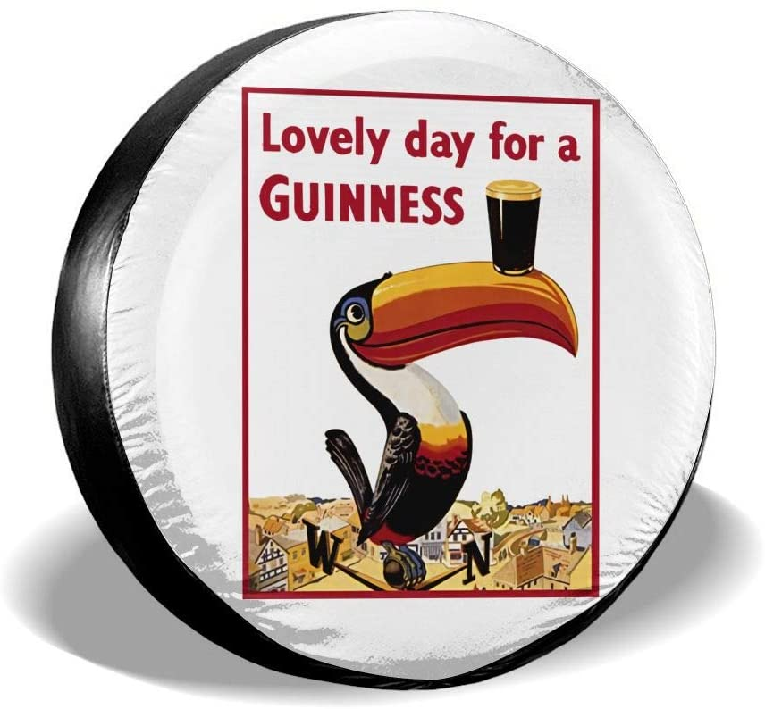 N/D Guinness The Spare Tire Cover is Waterproof and Uv-Resistant Sun Tire Cover, Suitable for Trailers, Rvs, Off-Road Vehicles and Many Vehicles