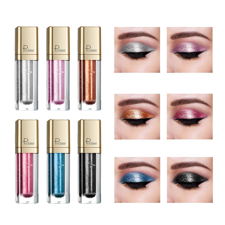 Diamond Liquid Eyeliner Set, 9 Pcs Glitter Shimmer Colored Eyeliner Pencil Waterproof Metallic Sparkling Liquid Eyeshadow by Rechoo (Diamond)