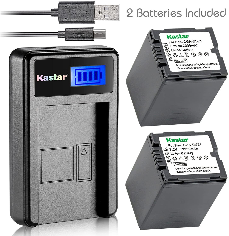 Kastar Battery (X2) & LCD USB Charger for Panasonic CGA-DU21 and NV-GS40 GS44 GS47 GS50 GS55 GS58 PV-GS150 GS200 GS300 GS320 GS400 GS500 SDR-H250 H280 VDR-D258 D300 D308 D310 D400 M74 M75 M95 M250
