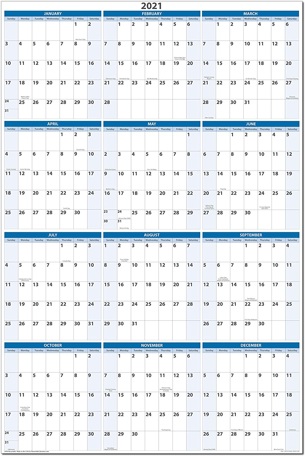32 x 48 Dry and Wet Erasable Wall Calendars by PlanetSafe Calendars. Best in It's Class (Sky Blue Vertical 2021)