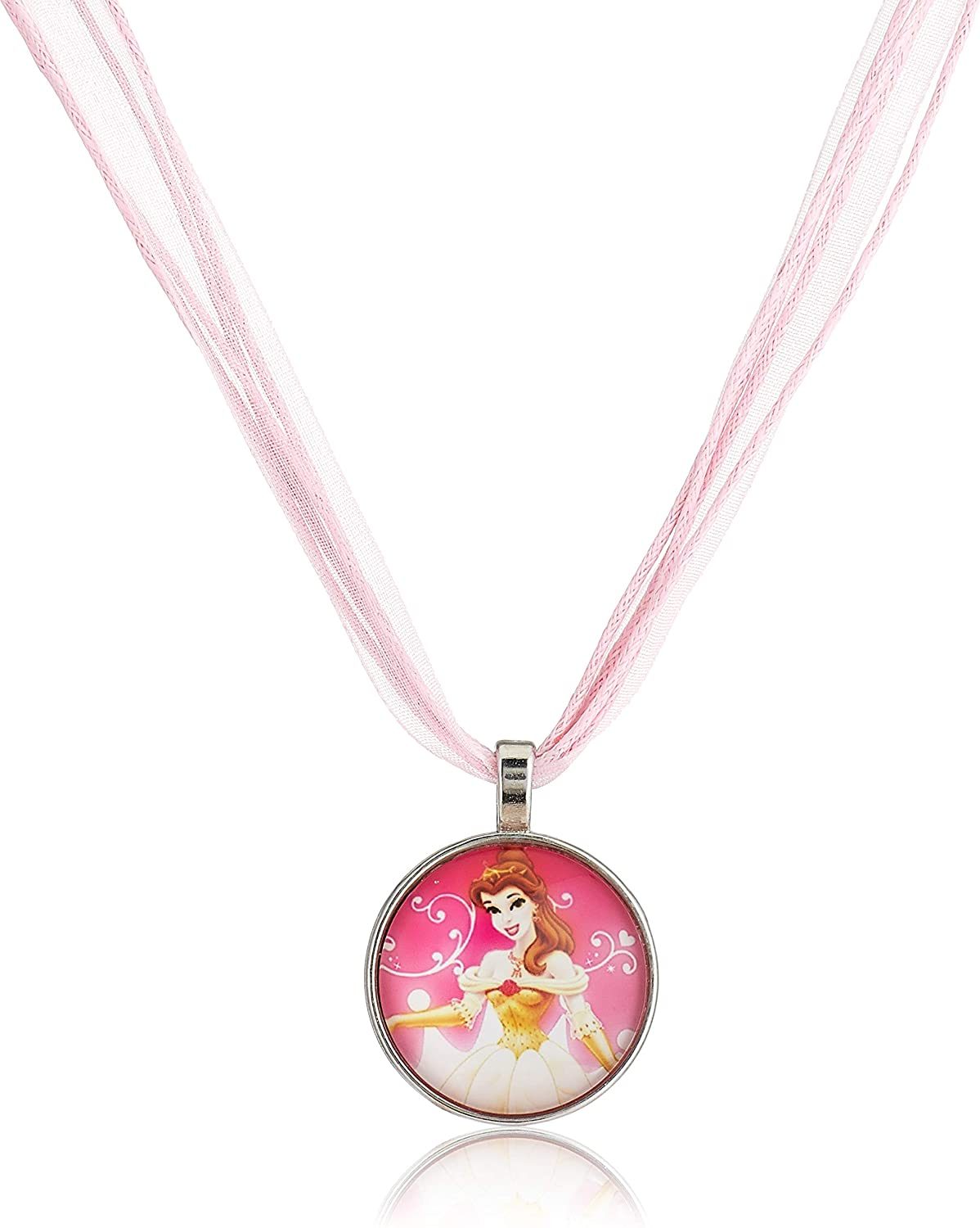 Princess Bella Featured Pendant with Organza Cord Necklace - Kids Jewelry For Girls- Princess Kids Fashion Costume Jewelry for Girls: Cyber Monday Jewelry Deal, Black Friday Jewelry Deals