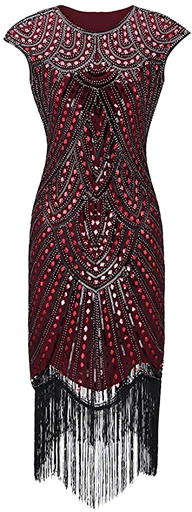 Women Boatneck Bodycon Party Dress SFE Fashion 1920s Flapper Tassel Great Gatsby Evening Party Cocktail Dress Plus Size