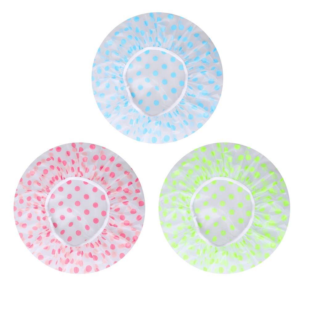 Shangling Shower Caps, 3 Pcs Waterproof Bath Caps Plastic Reusable Shower Caps Elastic Band Bath Hair Hat for Women Ladies Spa Salon