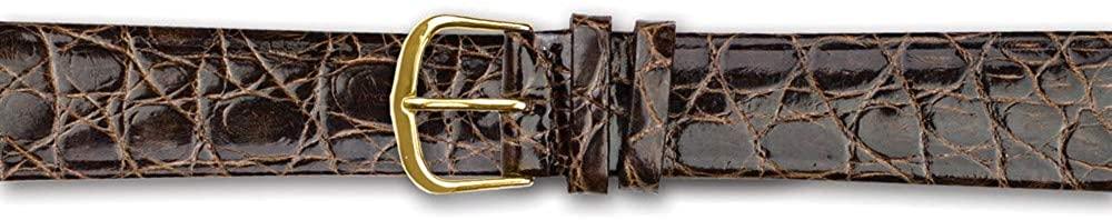 Sonia Jewels 20mm Flat Brown Genuine Crocodile Gold-Tone Buckle Watch Band 7.5