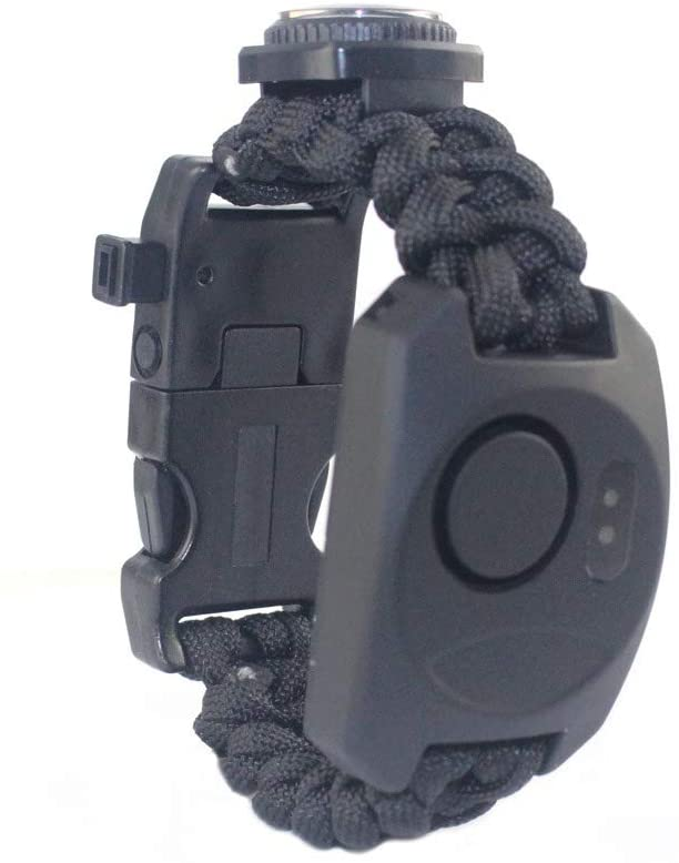 BUTYLANDER Personal Alarm Watch Anti-Lost Rope Woven LED Light Compass Thermometer Adjustable Safety Alarm for Wilderness Adventure(Black