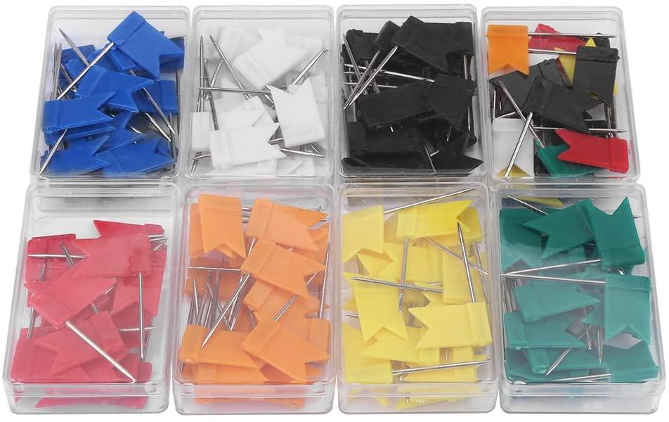8 Boxs Push Pins, Colorful Flag Shape Map Push Tacks for Drawing Cork Notice Board