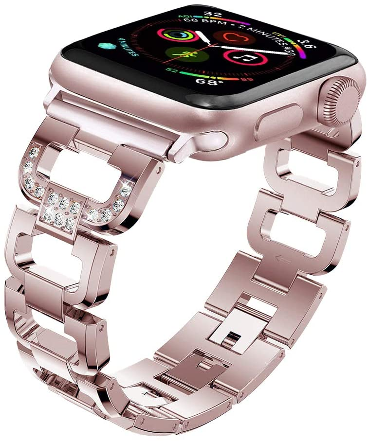 Maxjoy Compatible with Apple Watch Band, 42mm 44mm Women Metal Replacement Diamond Rhinestone Wristband Bracelet Strap Compatible with Apple iWatch Series 4 3 2 1 Sport Edition, Rose Gold