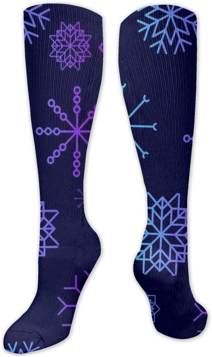 Compression Sock for Women & Men,Falling Winter,Snowflake Elements CasualLongKneeHighTubeSocksforRunnning,SoccerAthleticSports,Travel-50cm