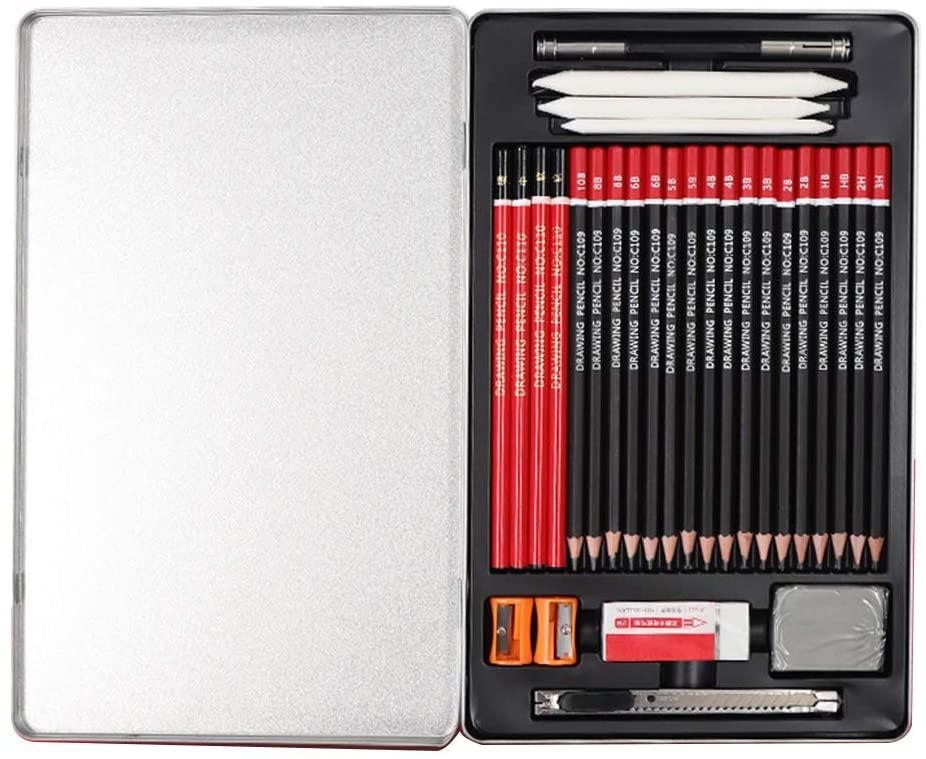 minansostey 30pcs/Set Professional Sketching Pencil Drawing Kit 2H HB 2B 3B 3H 4B 5B 6B 8B 10B School Art Supplies