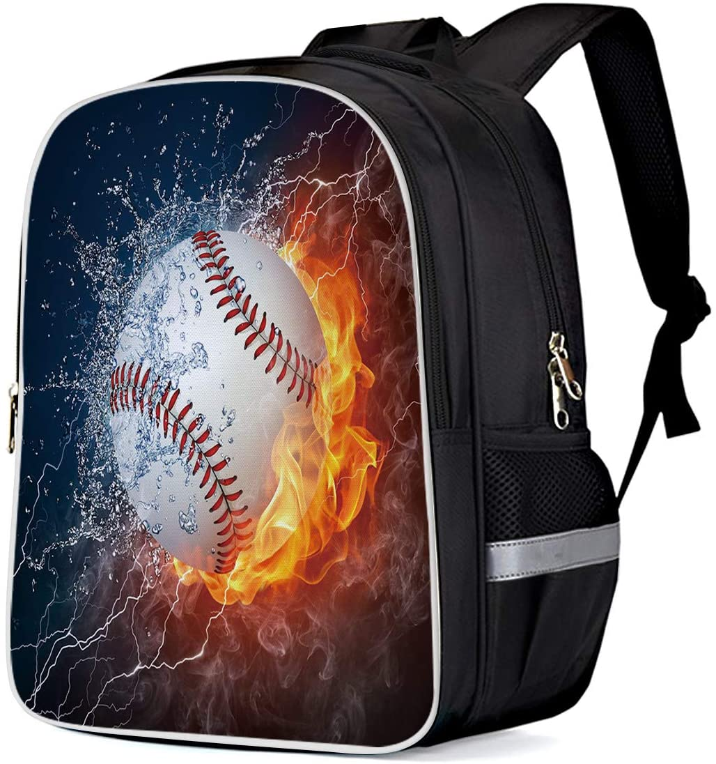Lightweight Backpack for Students- 4D Sports Baseball with Fire and Water Unisex Casual Daypack Elementary School Bags Printing Travel Laptop Bag