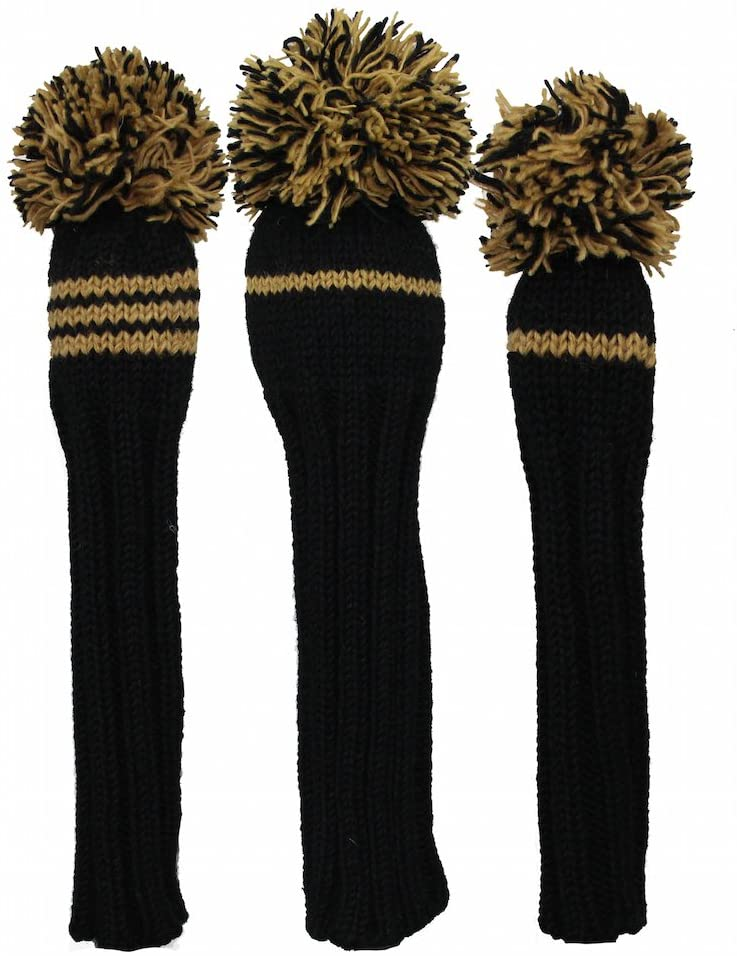 Sunfish Knit Wool Golf Headcover Set Driver Fairway Hybrid Black and Gold
