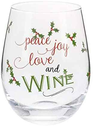 Ganz Holiday Humor Stemless Wine Glasses (Peace Joy Love and Wine)