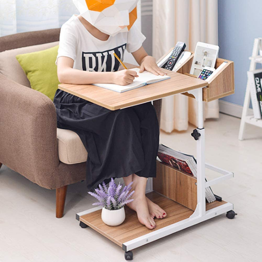 FCSFSF Removable Bedside Table Bed Removable, Lazy, Height-Adjustable Sofa Bed Notebook Table with Wheels for bedrooms