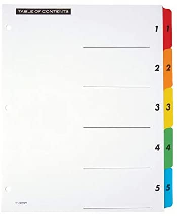 Office Depot Table Of Contents Customizable Index With Preprinted Tabs, Assorted Colors, Numbered 1-5, 6 Sets, 14708