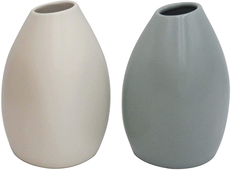 DHgate Brand – Rivet Modern Stoneware Vases, 2-Piece Set, 5.2