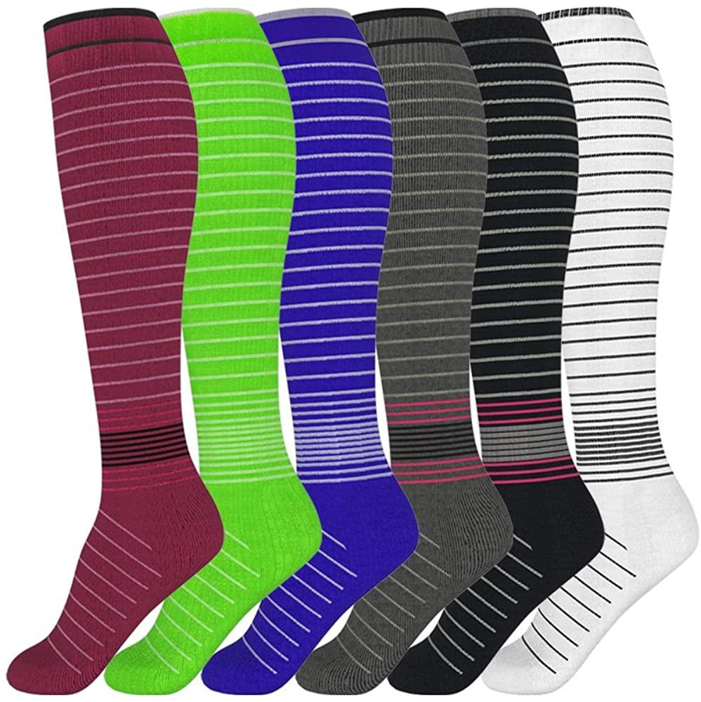 David accessories Compression Socks Unisex 6 Pairs 20-30 mmHg Medical Grade Stocking