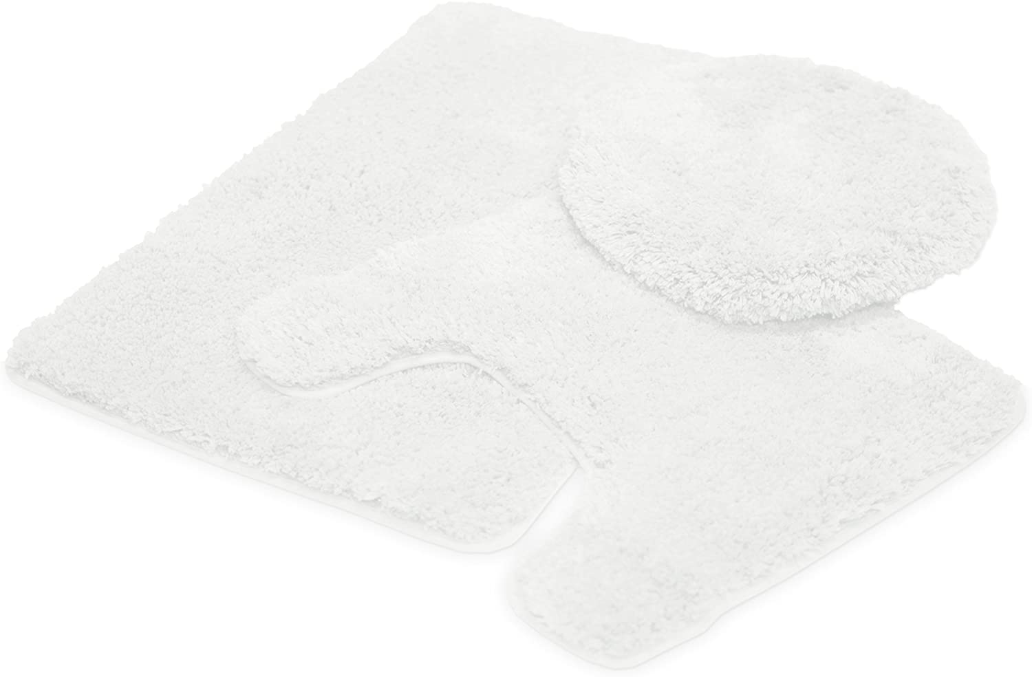 Mary 3 Piece Bathroom Rug Set, Luxury Soft Plush Shaggy Thick Fluffy Microfiber Bath Mat, Countour Rug, Toilet Seat Lid Cover, Non-Slip Rubber Back, Floor Mats Water Absorbent, White