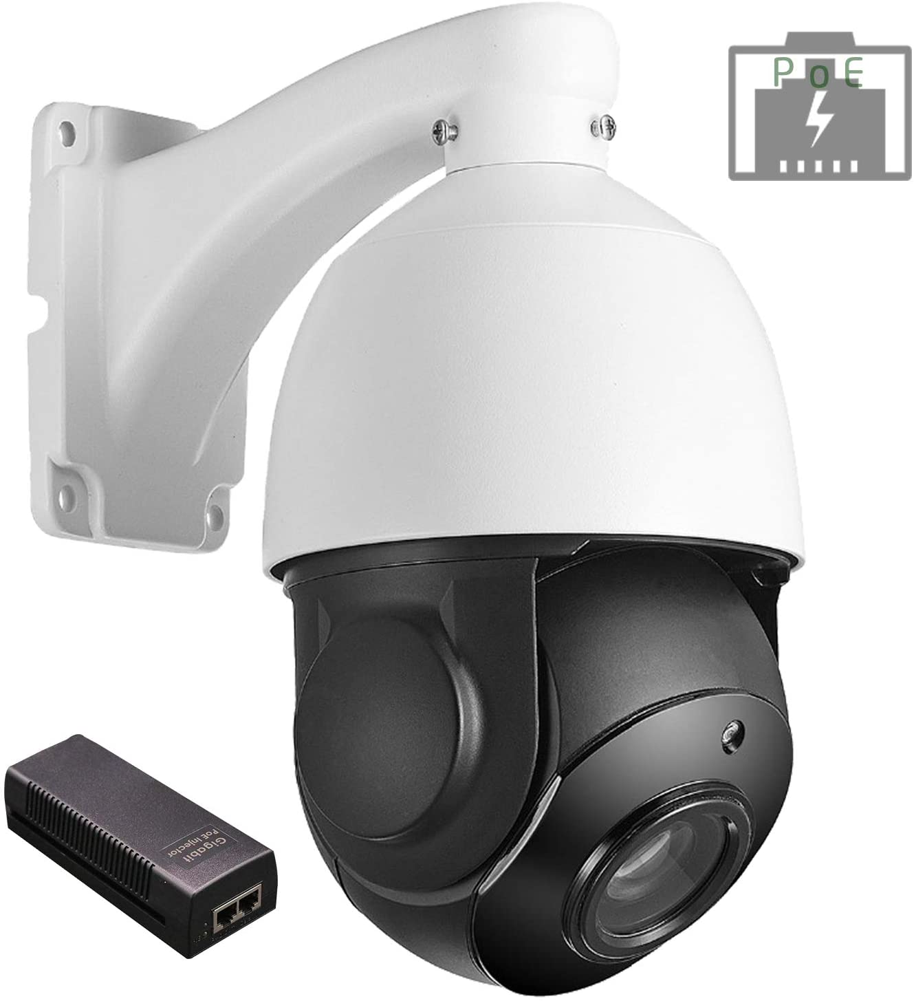 Nesuniq PTZ Camera Outdoor 5MP Ultra HD POE Security CCTV Dome Onvif IP Pan Tilt Zoom 18X Optical Lens Waterproof 2592x1944p 5megapixel Surveillance Webcam 262ft IR Night Vision Card Slot POE Injector