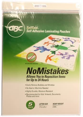 GBC SelfSeal NoMistakes Letter Size Repositionable Laminating Pouches - 5pk