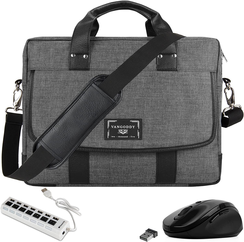 13 inch Shoulder Laptop Travel Messenger Briefcase Bag with USB Hub and Mouse for LG Gram 13.3-inch Laptop