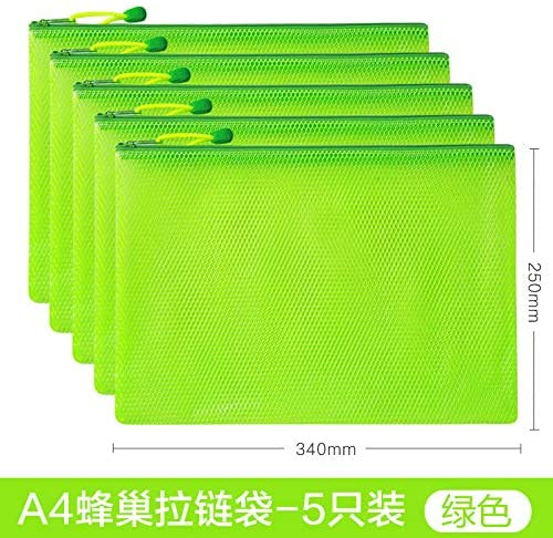 A4 File Bag Transparent Thickened mesh Zipper Bag Large Capacity Thickened hive A4-Green -5 Pack