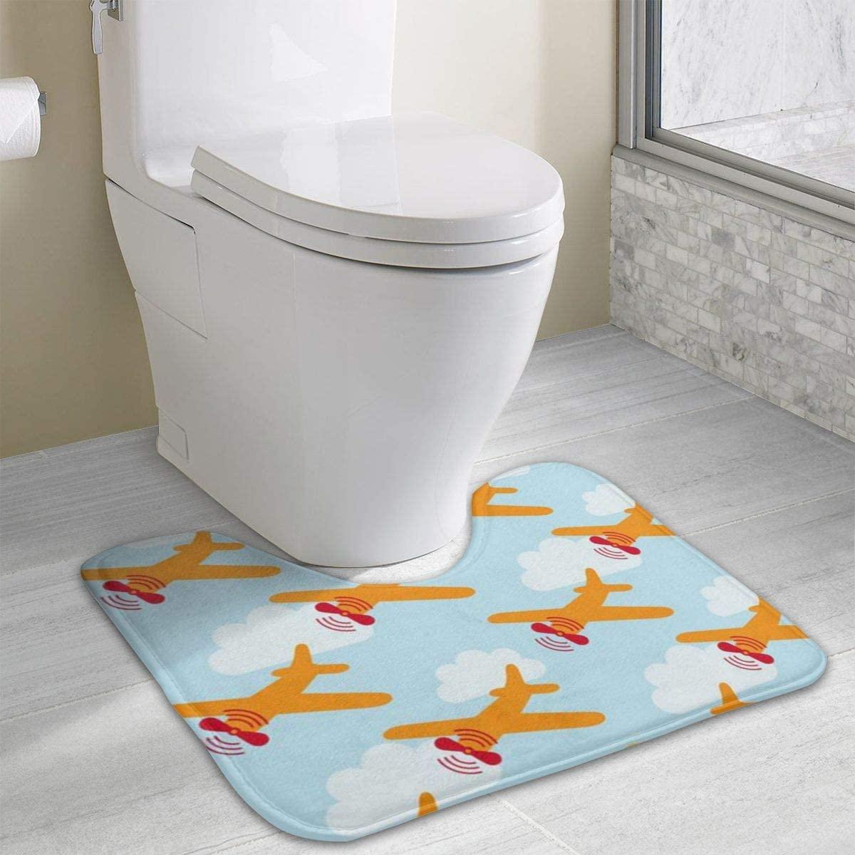 Bathroom Rug, Orange Rotary Plane U-Shaped Non Slip Absorbent Toilet Bath Floor Contour Doormat Shower Mat Carpet 19.3 X 15.7 Inch