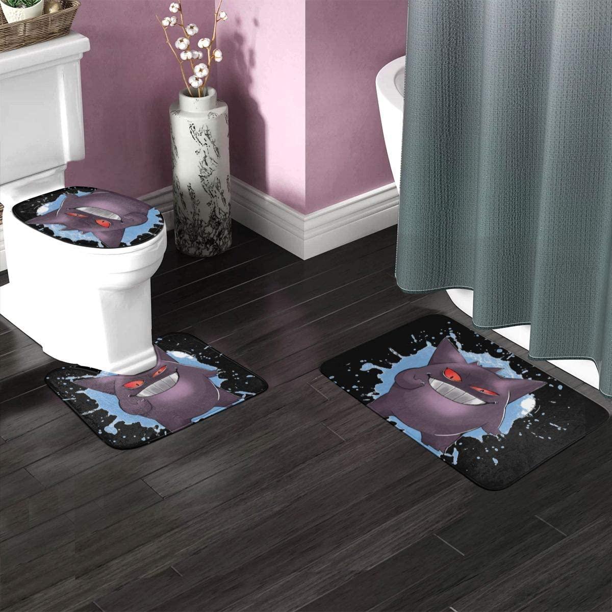 3 Pieces Bathroom Rugs Set 23.6x15.7 Gengar Poke-mon Non Slip Soft Absorbent Memory Foam Bath Rug Set with U Shape Contour Mat Toilet Lid Cover for Tub Shower Bathroom