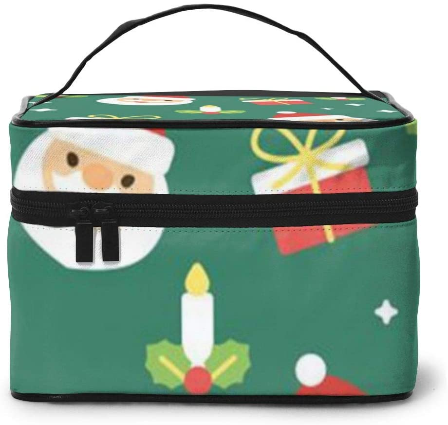 Large Cometic Travel Bag,Christmas Santa Claus Portable Travel Toiletry Bag Cosmetic Make Up Organizer For Women And Girls