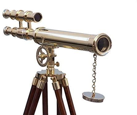 Expressions Enterprises Brass Telescope Double Barrel Nautical Decorative Spyglass On Tripod Antique Inspired