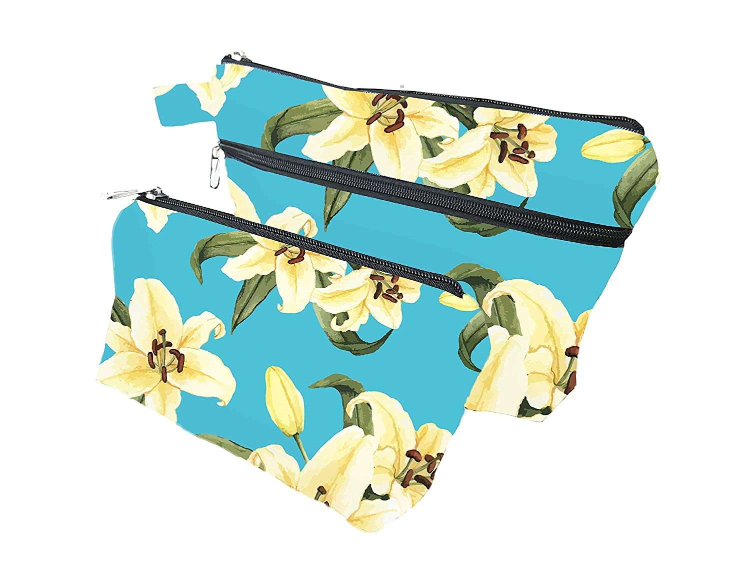 Lily Zippered Pouches for Women and Men - Enhanced Bottom For Maximum Storage - Pencil Cases for Adults - Makeup Bags - Multipurpose Tool Bags With Strong Zippers And Compartments (Pack of 2)