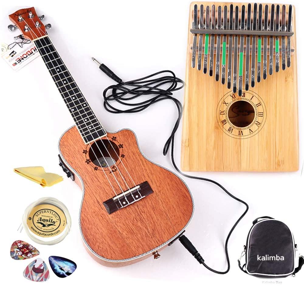 Smiger Kalimba Ukulele Kit with EQ Tuner Electric Ukulele Concert for Beginner